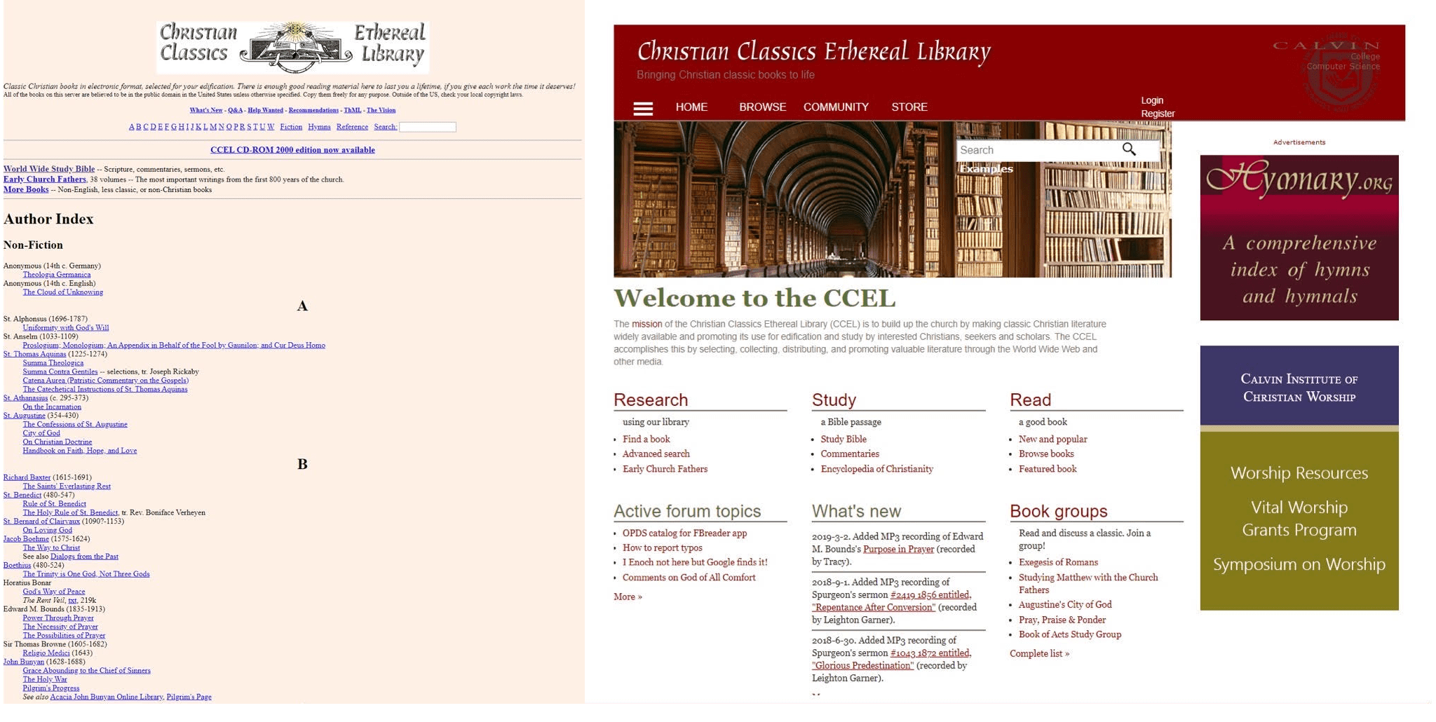 Left, the original design of CCEL, Right, the second, Drupal-based edition