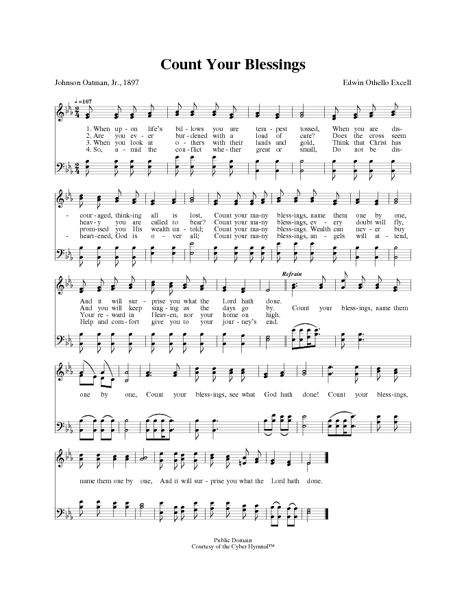 Lyric count your blessings hymn lyrics : The Cyber Hymnal 1072. When upon life's billows you are tempest ...