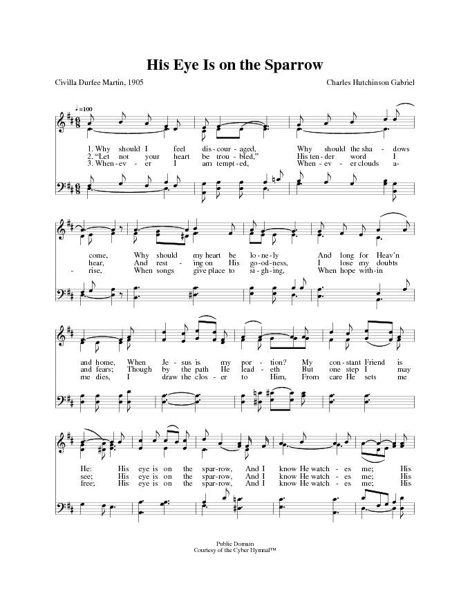 All Music Chords his eye is on the sparrow music sheet : The Cyber Hymnal 2432. Why should I feel discouraged | Hymnary.org