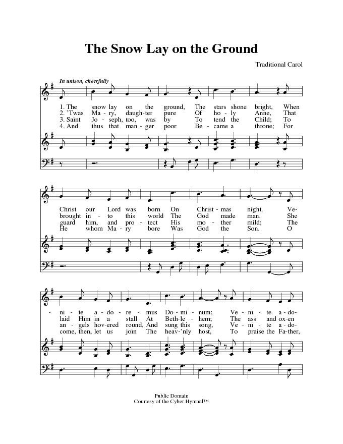 The Cyber Hymnal 6165 The Snow Lay On The Ground Hymnary Org