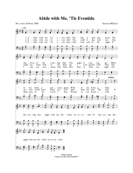 Abide With Me Tis Eventide Hymnary