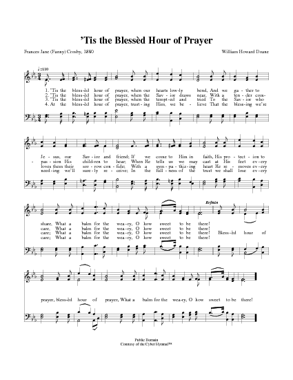 Tis The Blessed Hour Of Prayer Hymnary