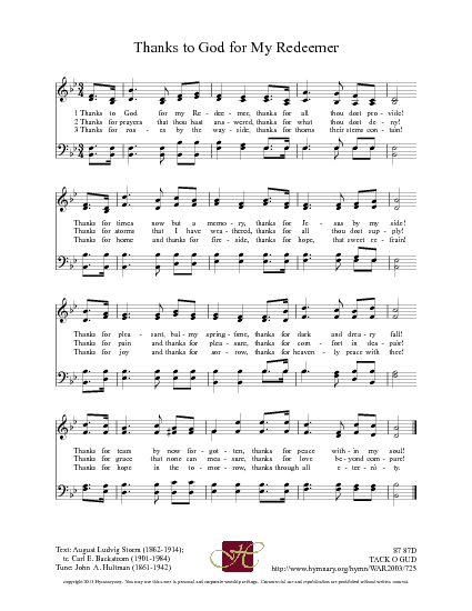 Thanks To God For My Redeemer Hymnary