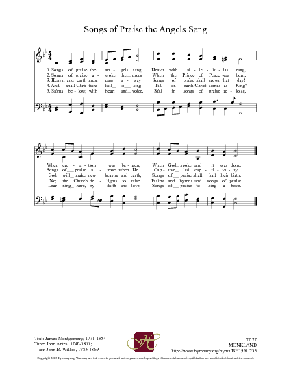 Songs of praise the angels sang | Hymnary.org