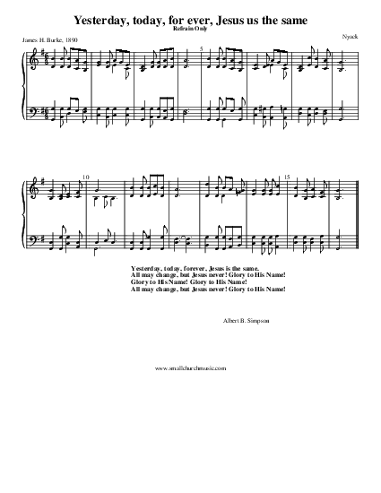 yesterday today and forever chords pdf