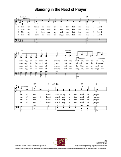 Standing in the Need of Prayer   Hymnary.org