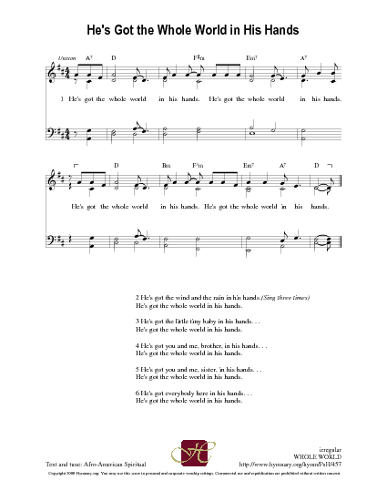 He\'s Got the Whole World in His Hands | Hymnary.org