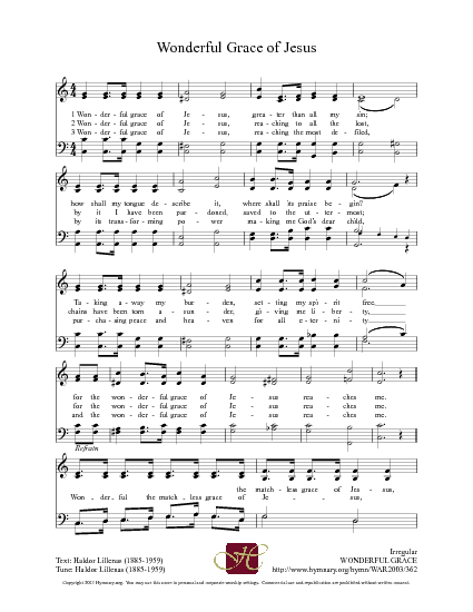 Wonderful Grace Of Jesus Hymnary