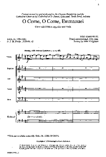 O Come, O Come, Emmanuel - (Choral Score) - Hymnary.org