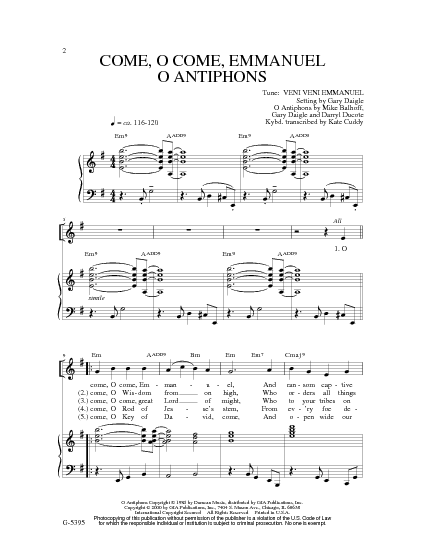 Come, O Come, Emmanuel / O Antiphons - Hymnary.org