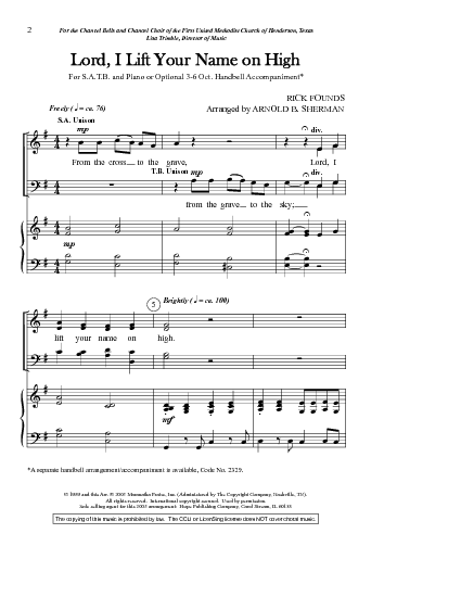 LORD, I LIFT YOUR NAME ON HIGH - SATB | Hymnary org