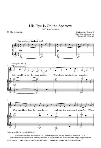 his eye is on the sparrow sheet music filetype pdf