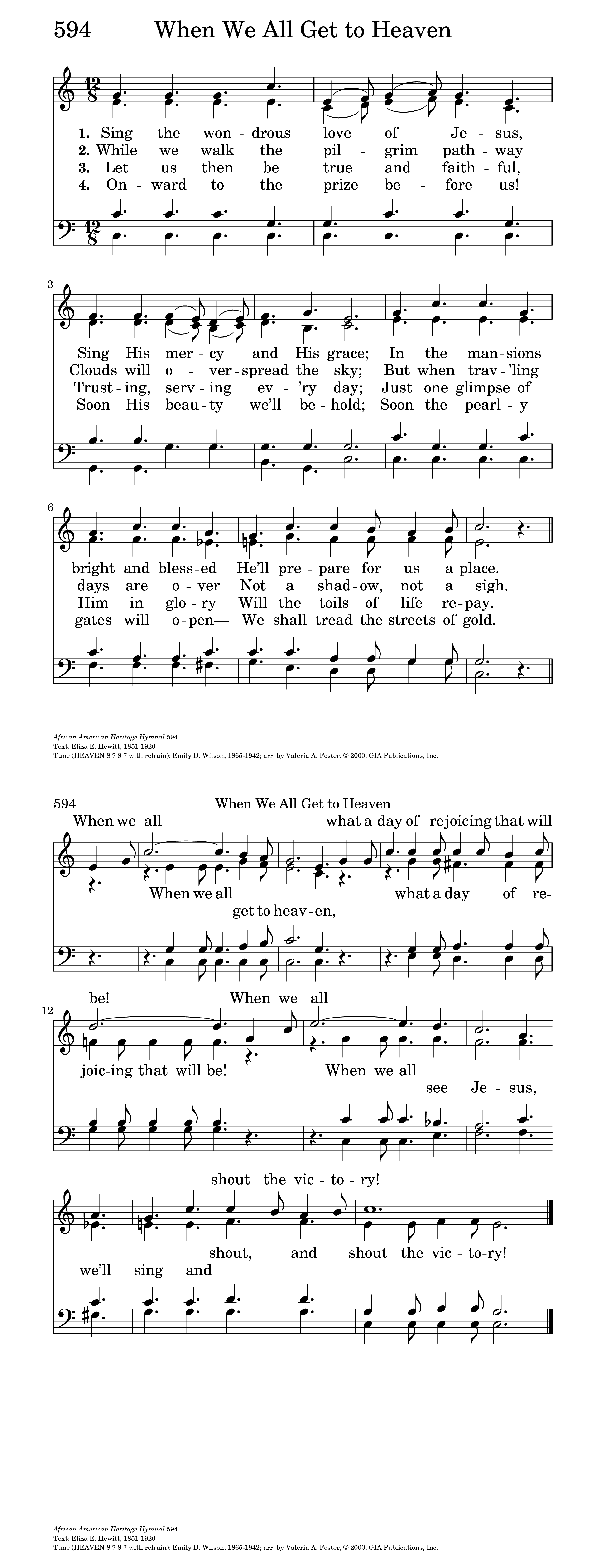 When We All Get to Heaven   Hymnary org