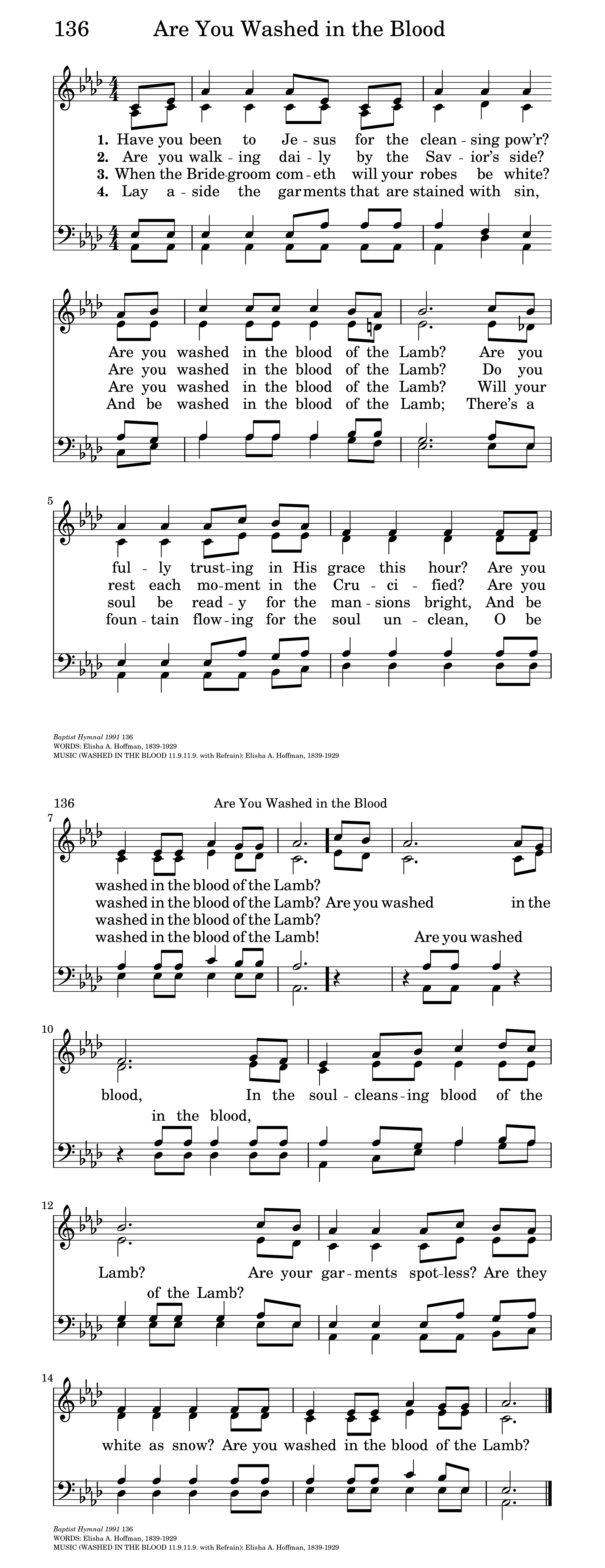 Are You Washed In The Blood Hymnary