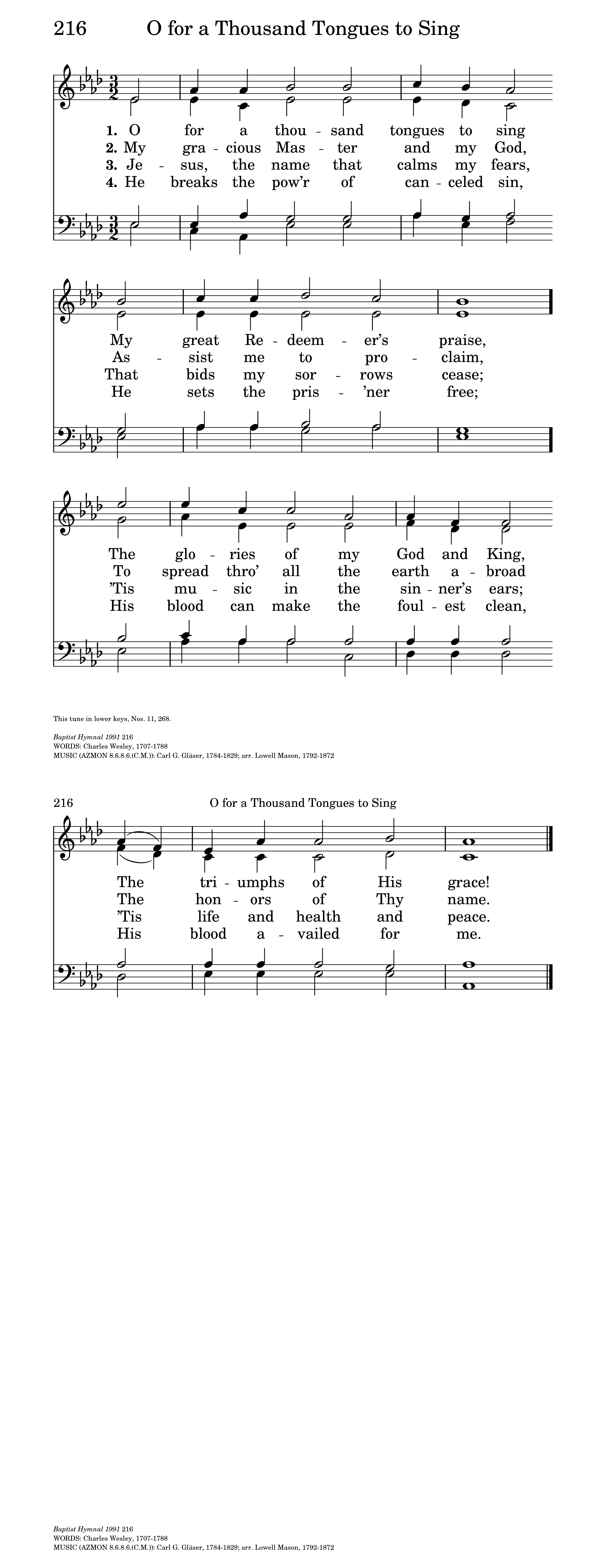 O for a Thousand Tongues   Hymnary org
