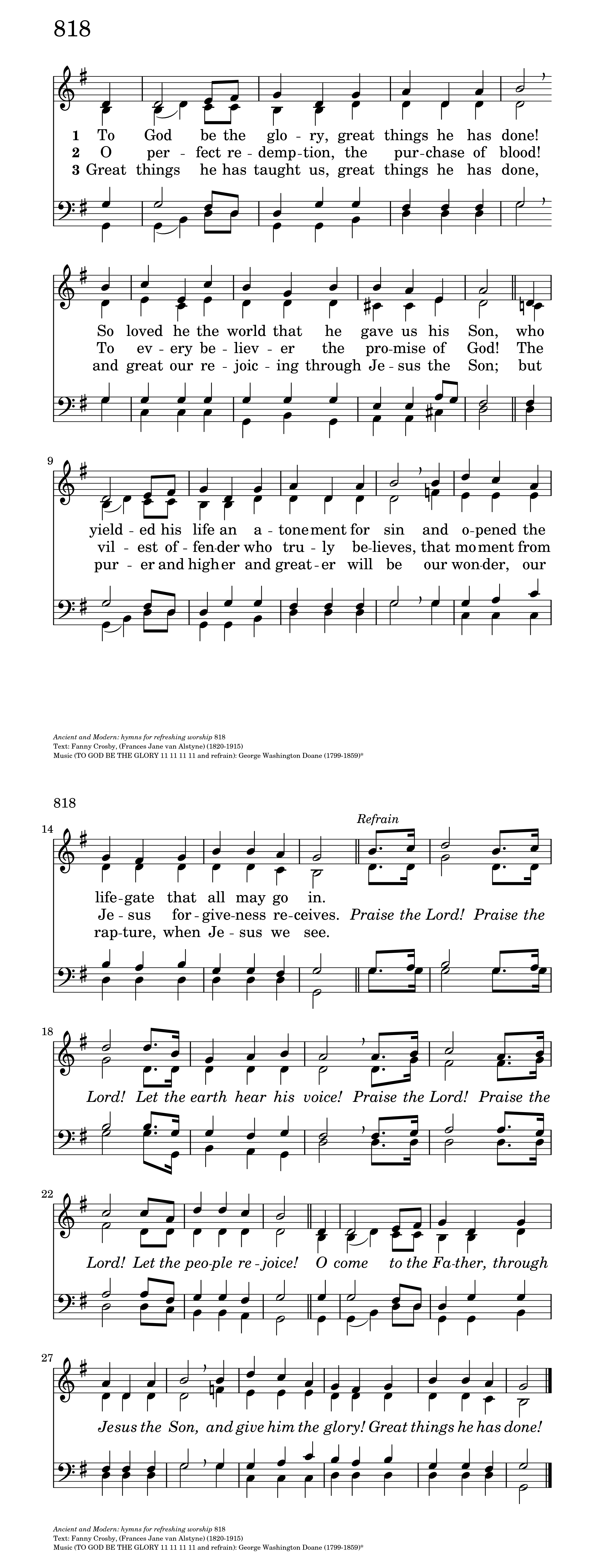 To God Be the Glory | Hymnary org