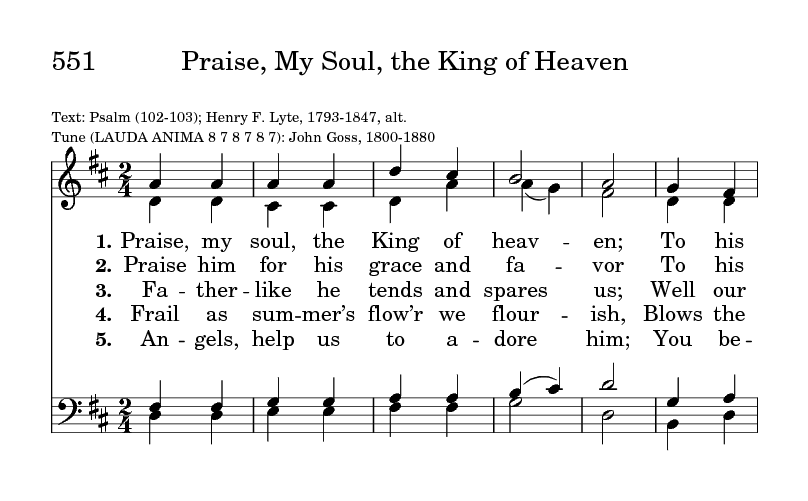 Praise, my soul, the King of heaven | Hymnary org