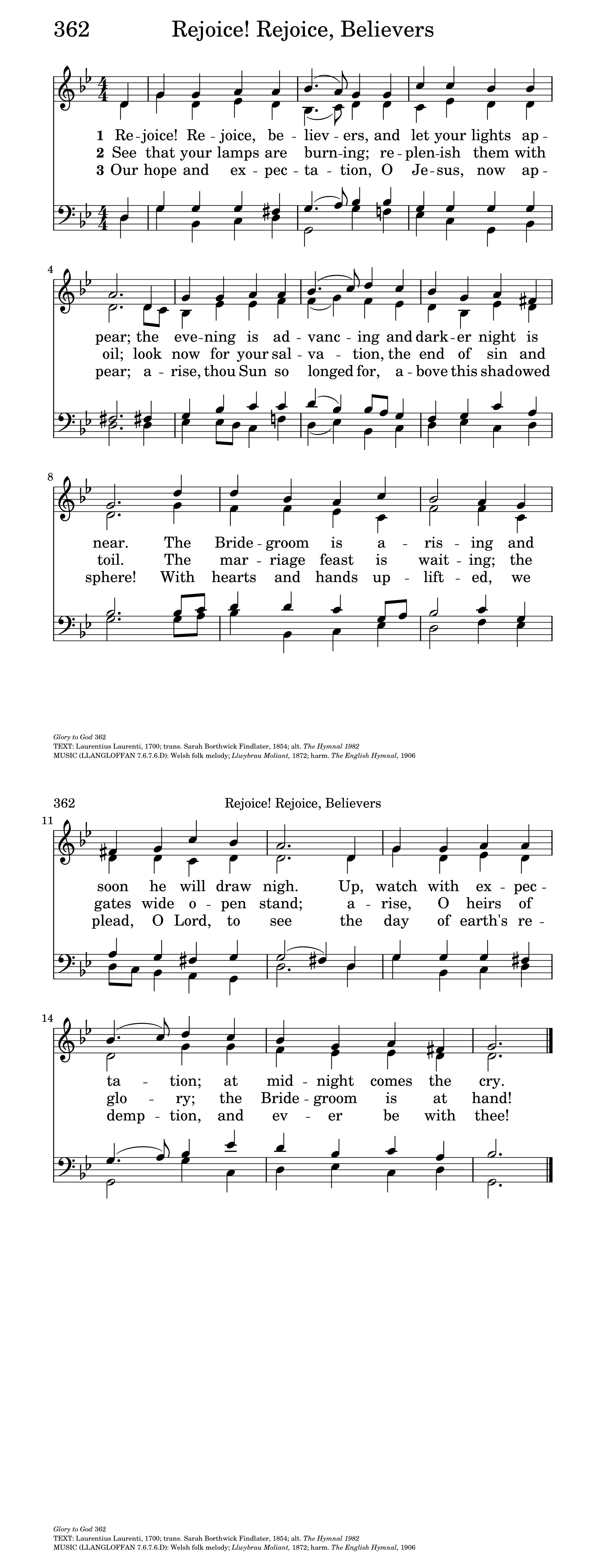 Rejoice! Rejoice, Believers | Hymnary org