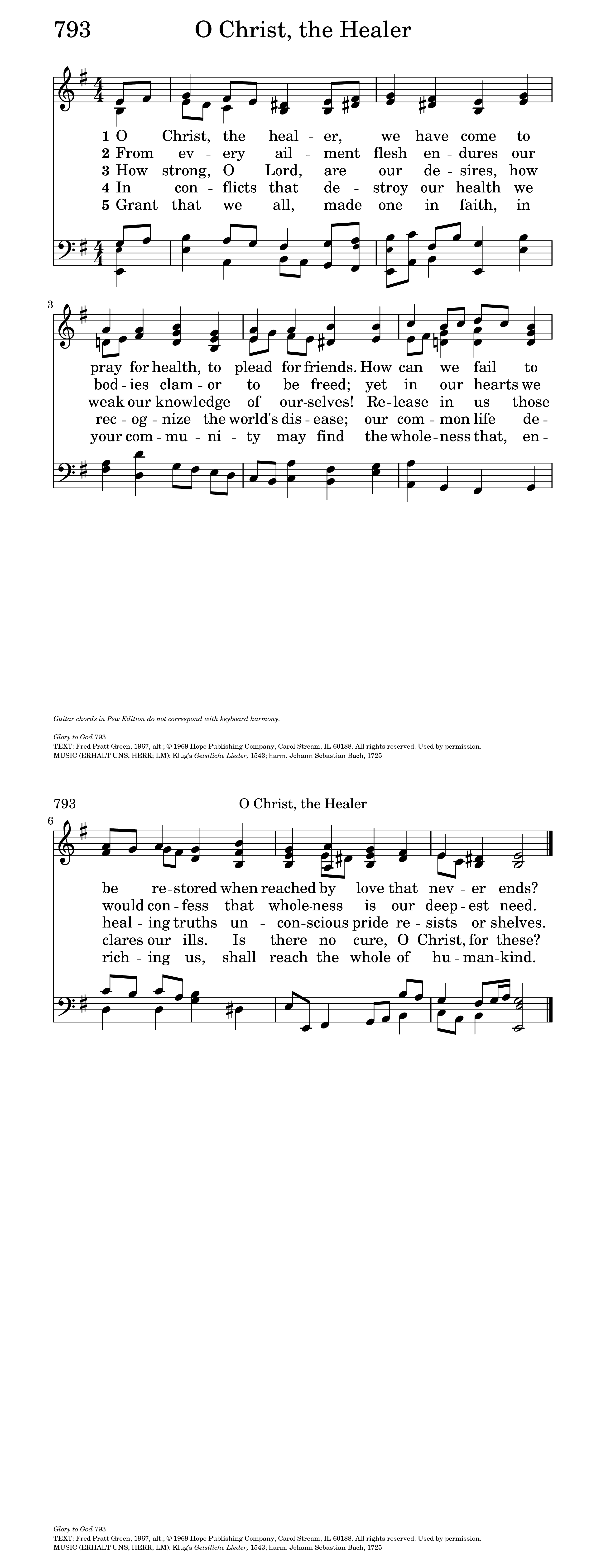 Glory To God The Presbyterian Hymnal 793 O Christ The Healer We