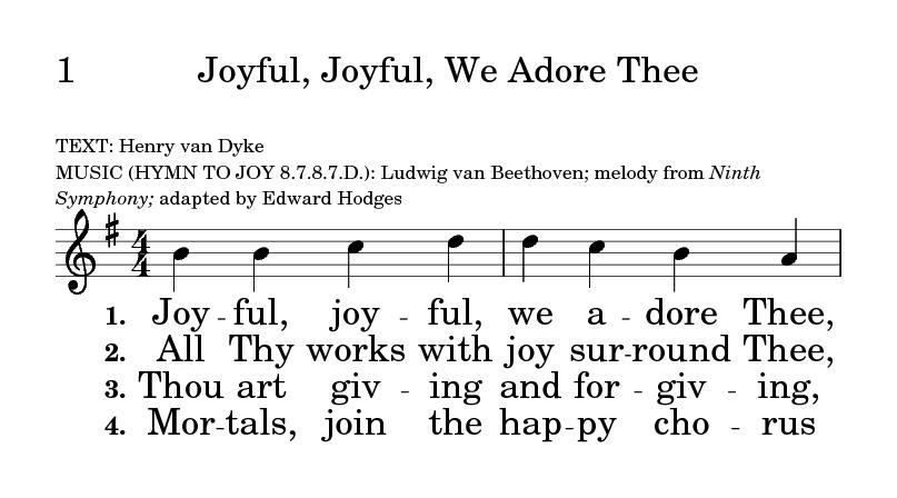 The Hymnal for Worship and Celebration 1  Joyful, joyful, we