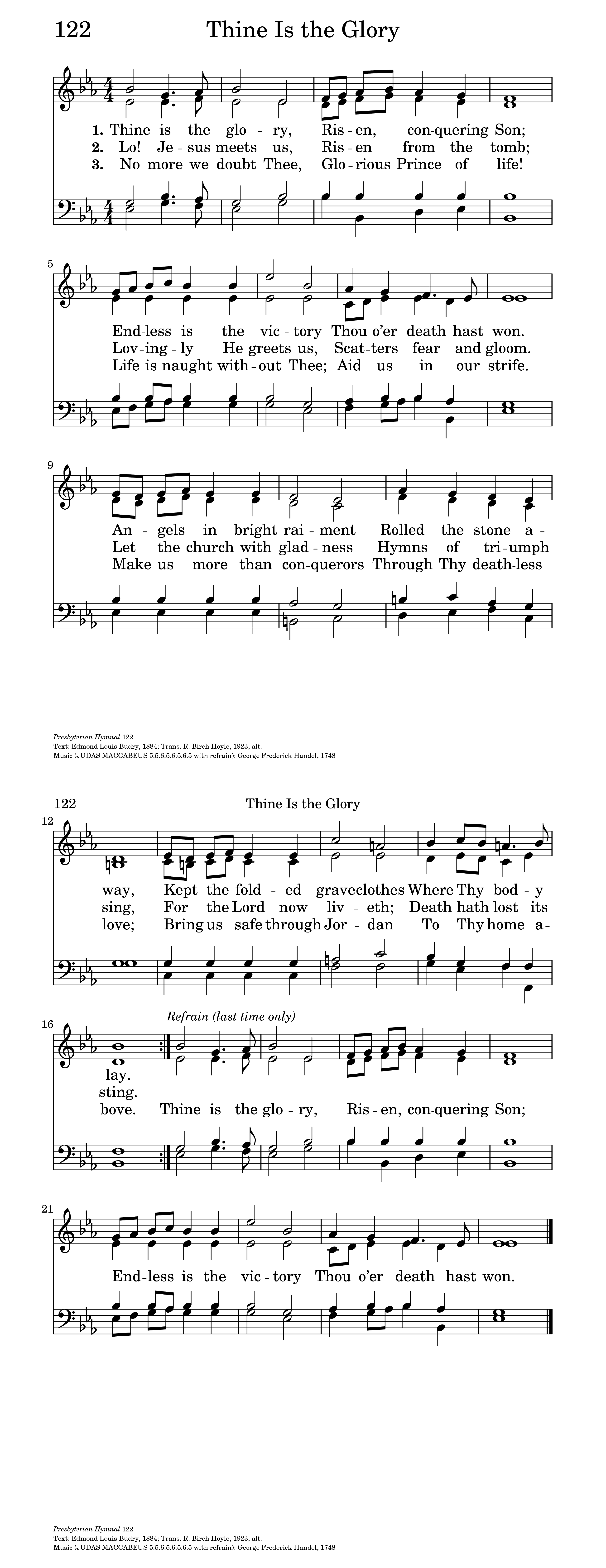 Thine is the glory hymnary general settings m4hsunfo