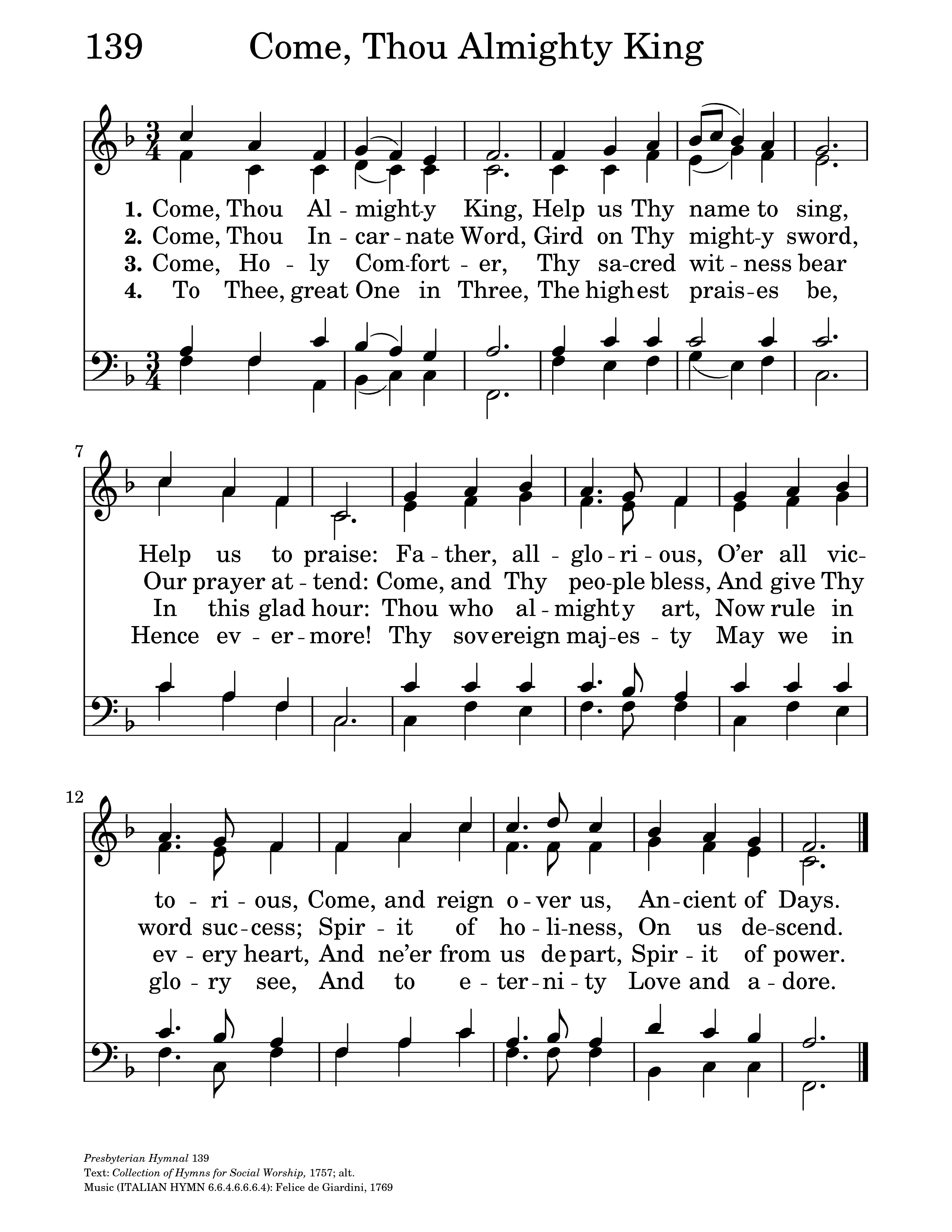 Come thou almighty king hymnary general settings hexwebz Choice Image
