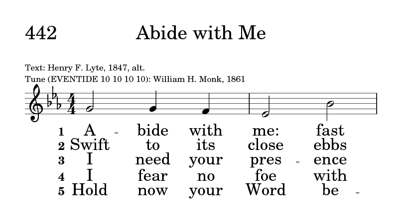 Psalter Hymnal Gray 442 Abide With Me Fast Falls The Eventide