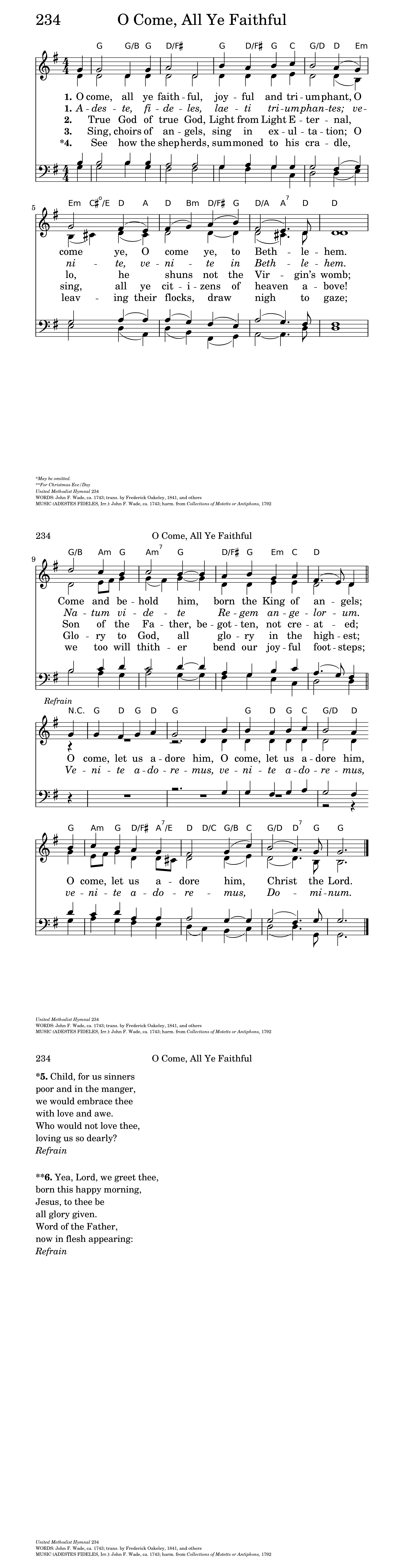 The United Methodist Hymnal 234 O Come All Ye Faithful Hymnary