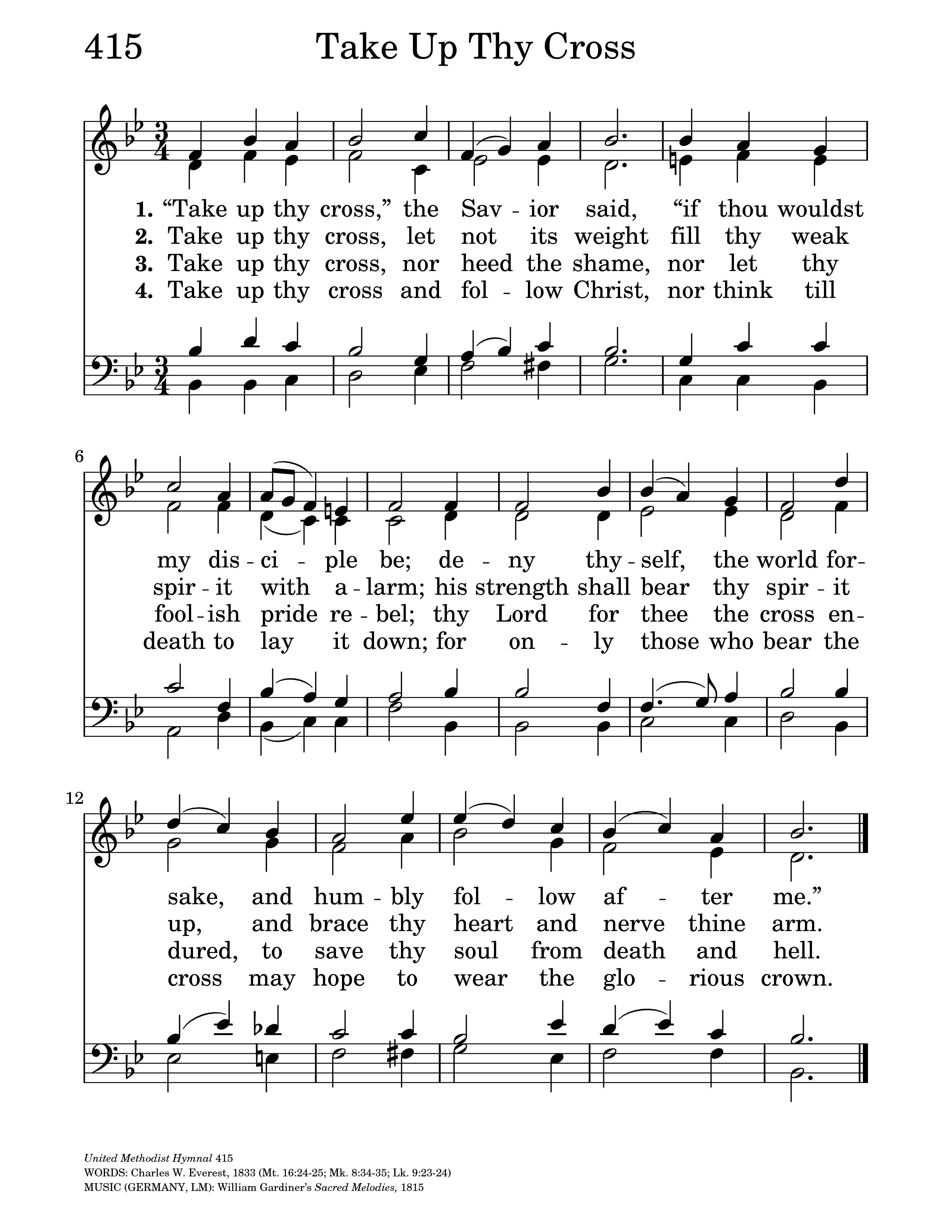 Take up thy cross the savior said hymnary general settings hexwebz Images