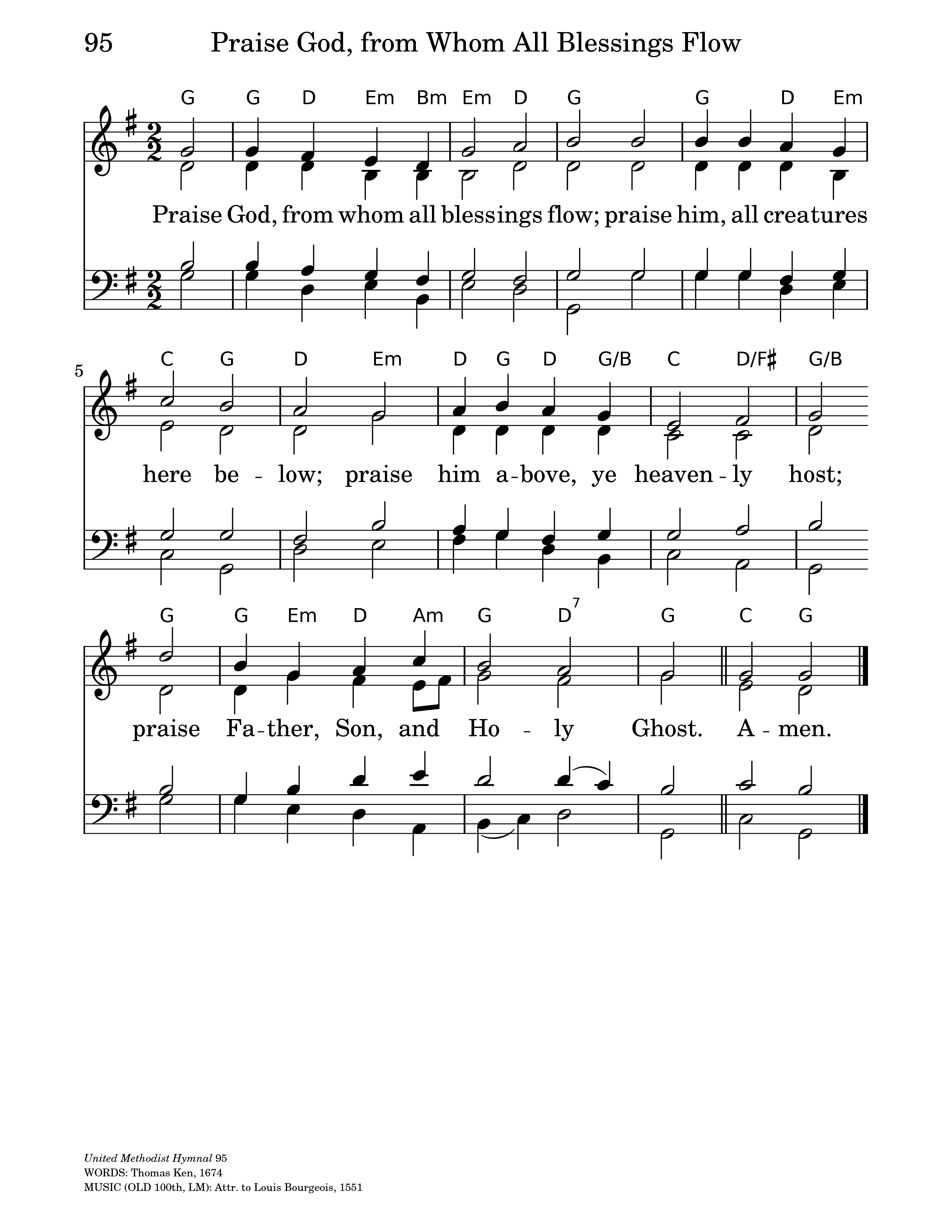 The United Methodist Hymnal 95  Praise God, from whom all blessings