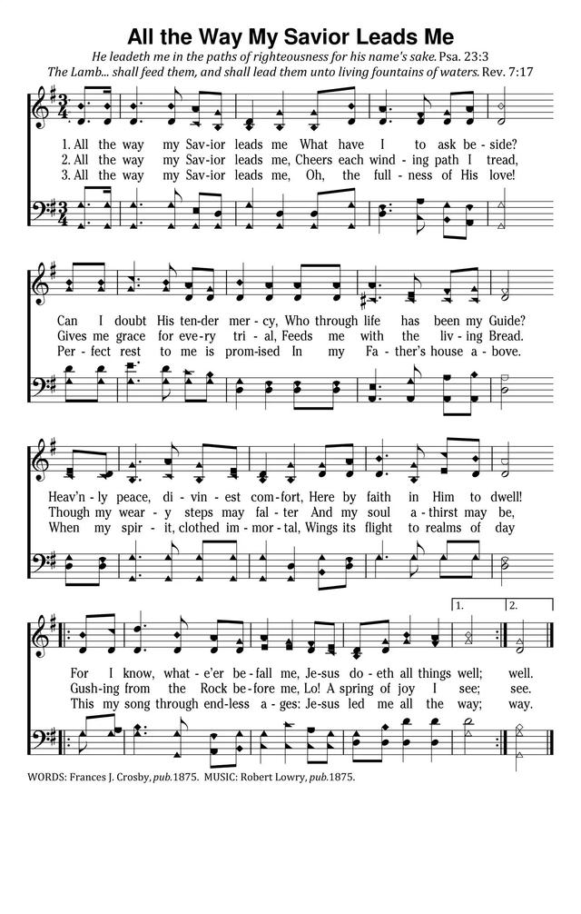 All The Way My Savior Leads Me Hymnary