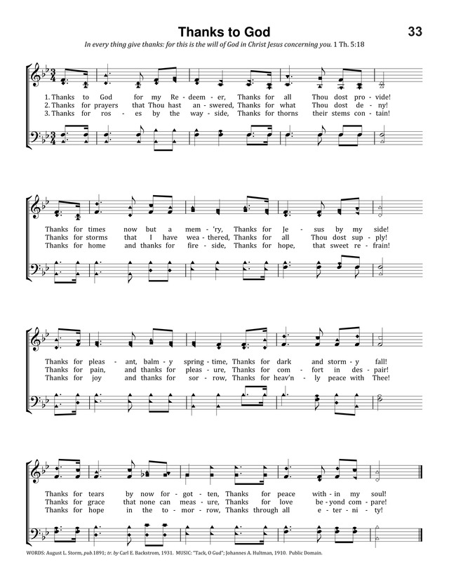 Thanks to God for My Redeemer | Hymnary.org