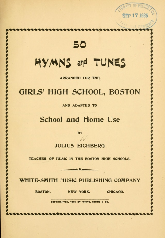 50 Hymns and Tunes: arranged for the Girl