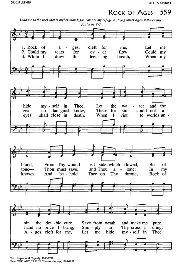 African American Heritage Hymnal 559. Rock of ages, cleft for me ...