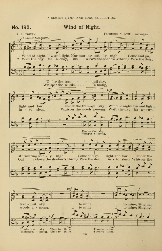 The Assembly Hymn and Song Collection: designed for use in chapel, assembly, convocation, or general exercises of schools, normals, colleges and universities. (3rd ed.) page 174