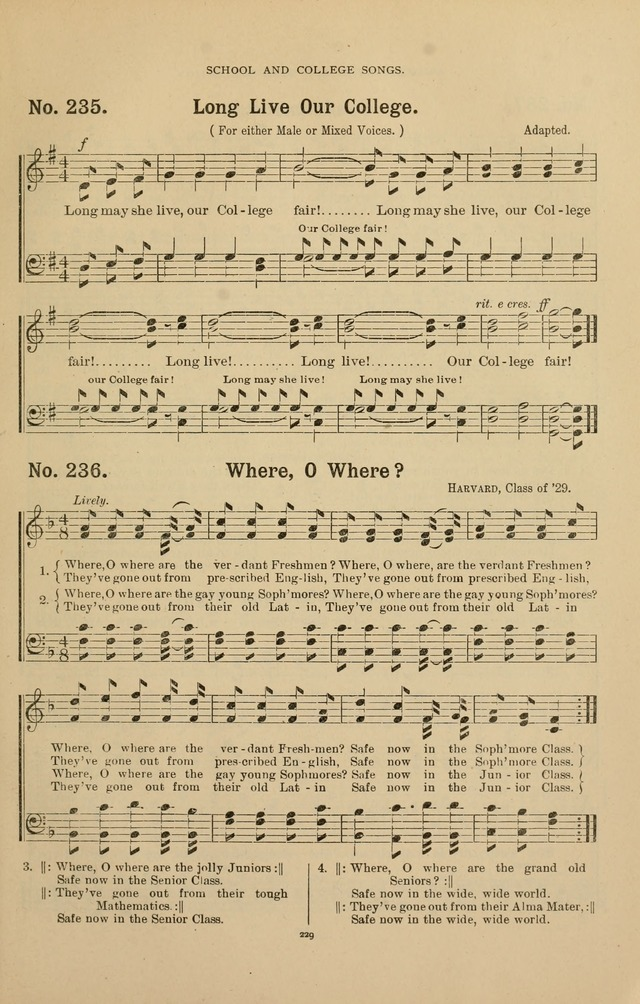 The Assembly Hymn and Song Collection: designed for use in chapel, assembly, convocation, or general exercises of schools, normals, colleges and universities. (3rd ed.) page 229