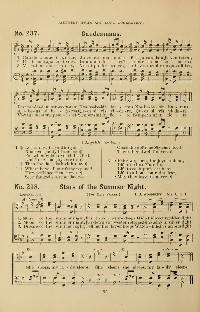 The Assembly Hymn and Song Collection: designed for use in chapel, assembly, convocation, or general exercises of schools, normals, colleges and universities. (3rd ed.) page 230
