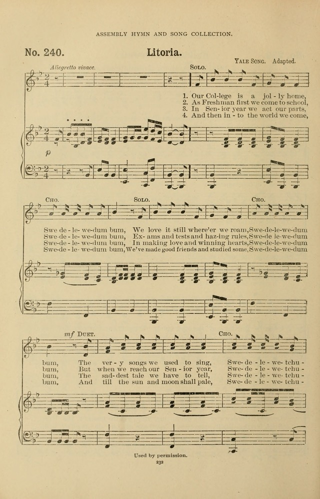 The Assembly Hymn and Song Collection: designed for use in chapel, assembly, convocation, or general exercises of schools, normals, colleges and universities. (3rd ed.) page 232