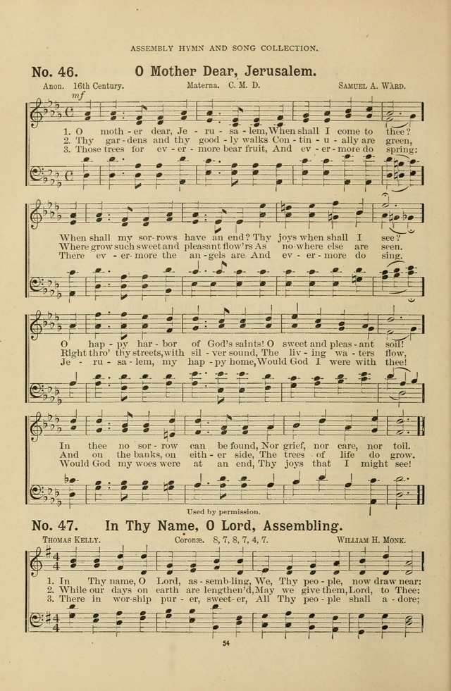 The Assembly Hymn And Song Collection Designed For Use In Chapel