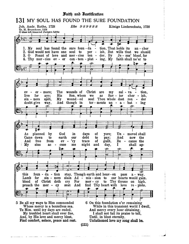 American Lutheran Hymnal 131  My soul has found the sure