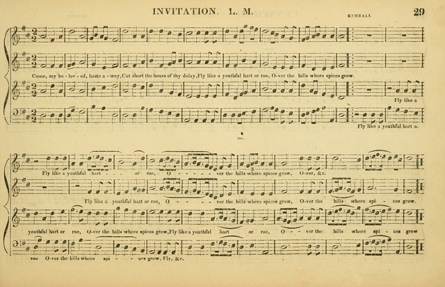 The American Vocalist: a selection of tunes, anthems, sentences, and hymns, old and new: designed for the church, the vestry, or the parlor; adapted to every variety of metre in common use. (Rev. ed.) page 29