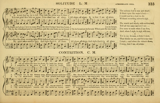 The American Vocalist: a selection of tunes, anthems, sentences, and hymns, old and new: designed for the church, the vestry, or the parlor; adapted to every variety of metre in common use. (Rev. ed.) page 315