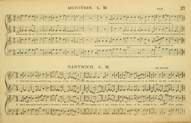 The American Vocalist: a selection of tunes, anthems, sentences, and hymns, old and new: designed for the church, the vestry, or the parlor; adapted to every variety of metre in common use. (Rev. ed.) page 37