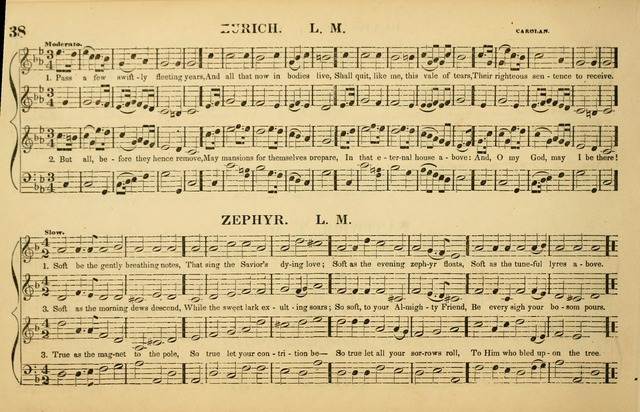 The American Vocalist: a selection of tunes, anthems, sentences, and hymns, old and new: designed for the church, the vestry, or the parlor; adapted to every variety of metre in common use. (Rev. ed.) page 38