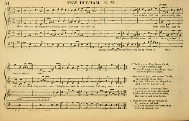The American Vocalist: a selection of tunes, anthems, sentences, and hymns, old and new: designed for the church, the vestry, or the parlor; adapted to every variety of metre in common use. (Rev. ed.) page 54