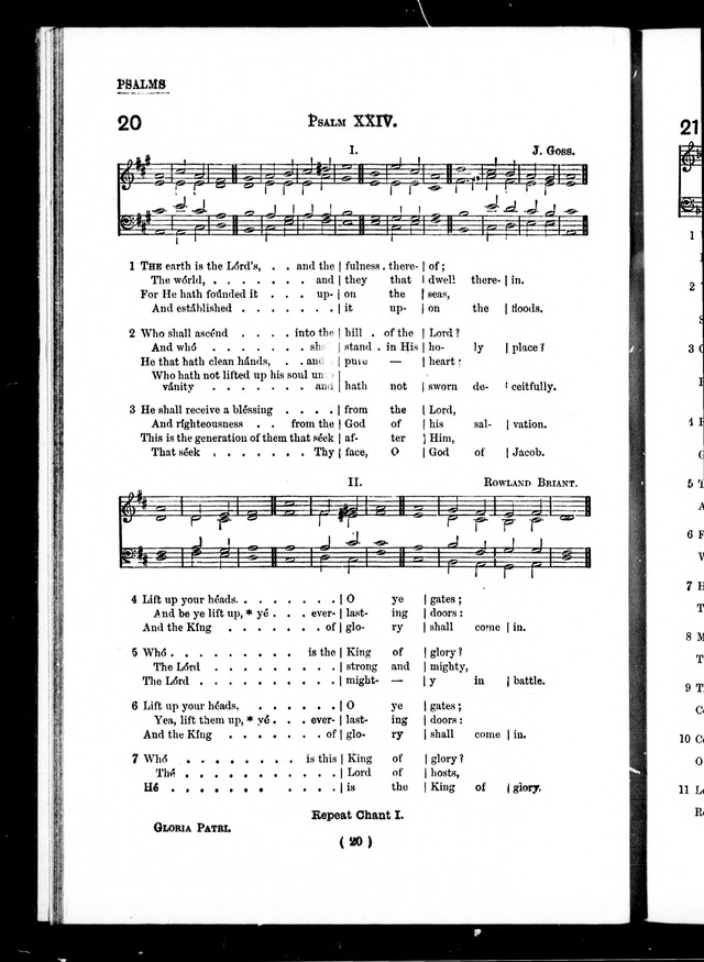 The Baptist Church Hymnal: chants and anthems with music page 20