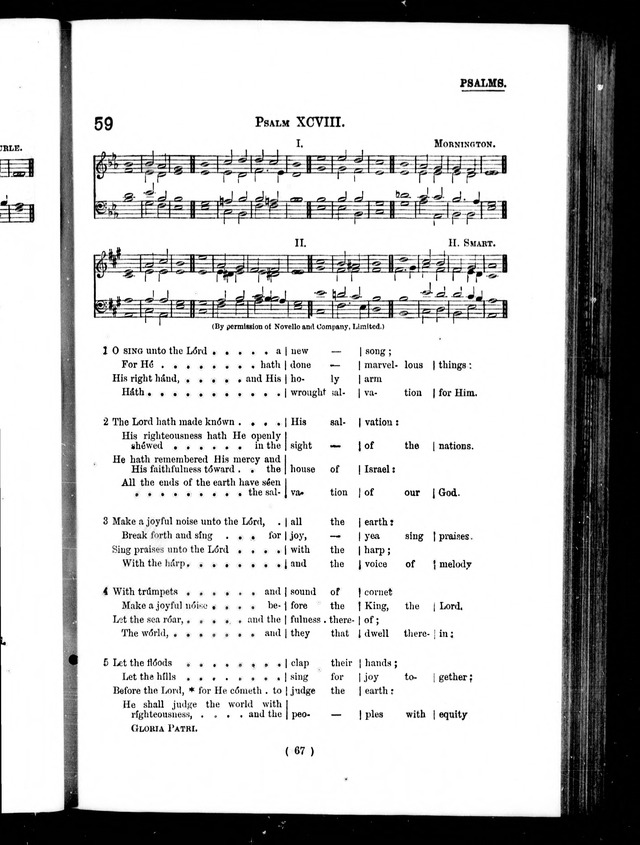 The Baptist Church Hymnal: chants and anthems with music page 67