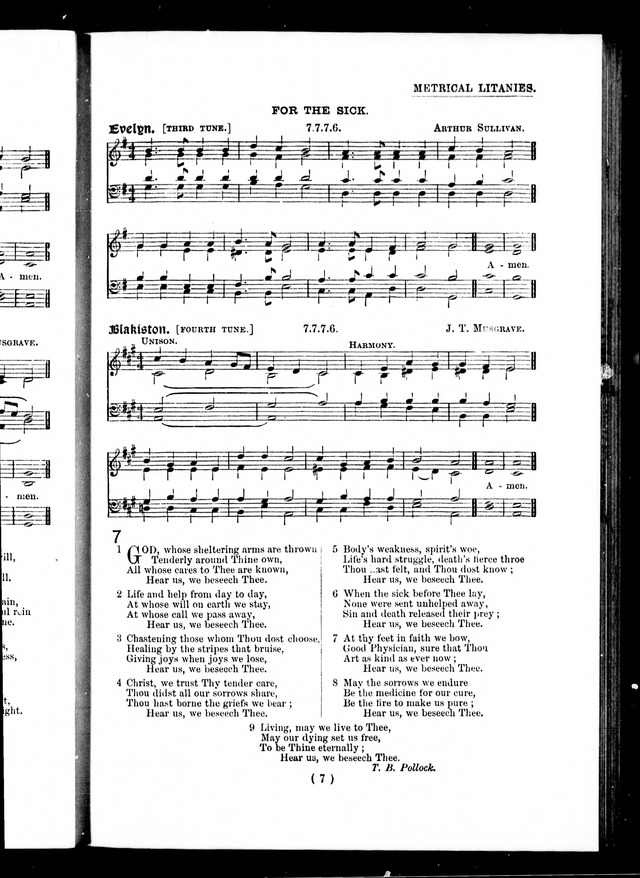The Baptist Church Hymnal: chants and anthems with music page 7