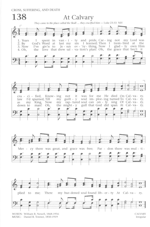 Baptist Hymnal 1991 138. Years I spent in vanity and pride ...
