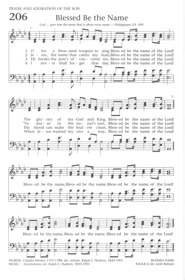 Baptist Hymnal 1991 206. O for a thousand tongues to sing, Blessed ...